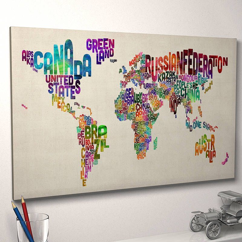 Typography world map art print by artpause love this for a playroom are you interested in our world map typography text with our canvas art print poster you need look no further gumiabroncs Choice Image