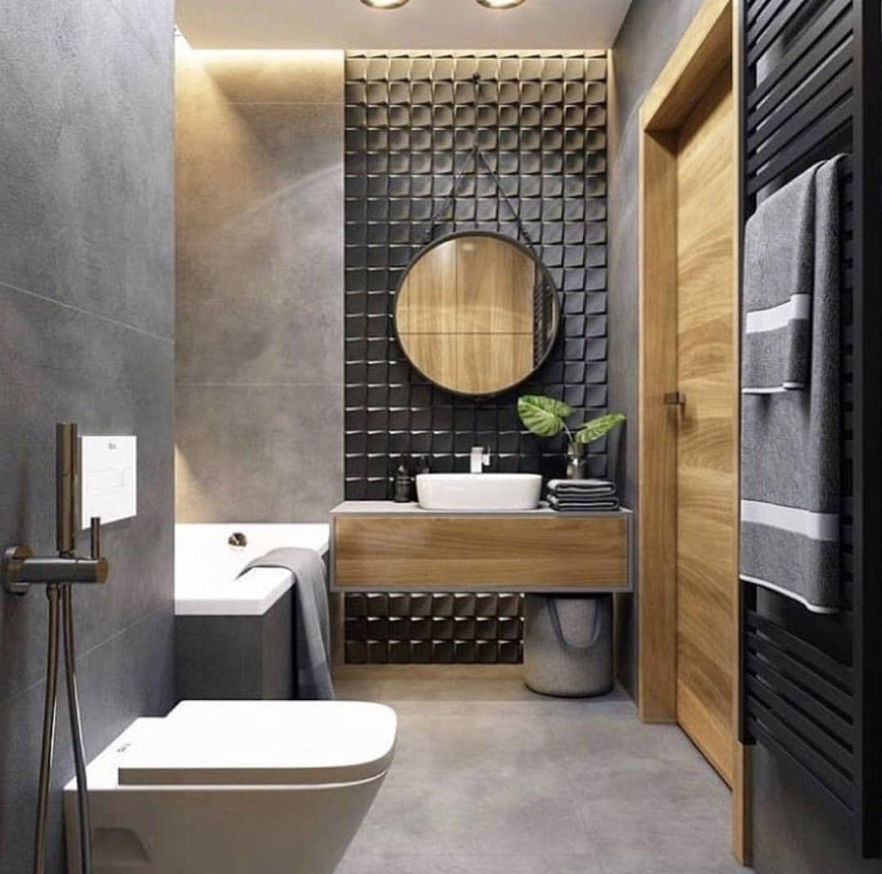 дизайн ванны бетон