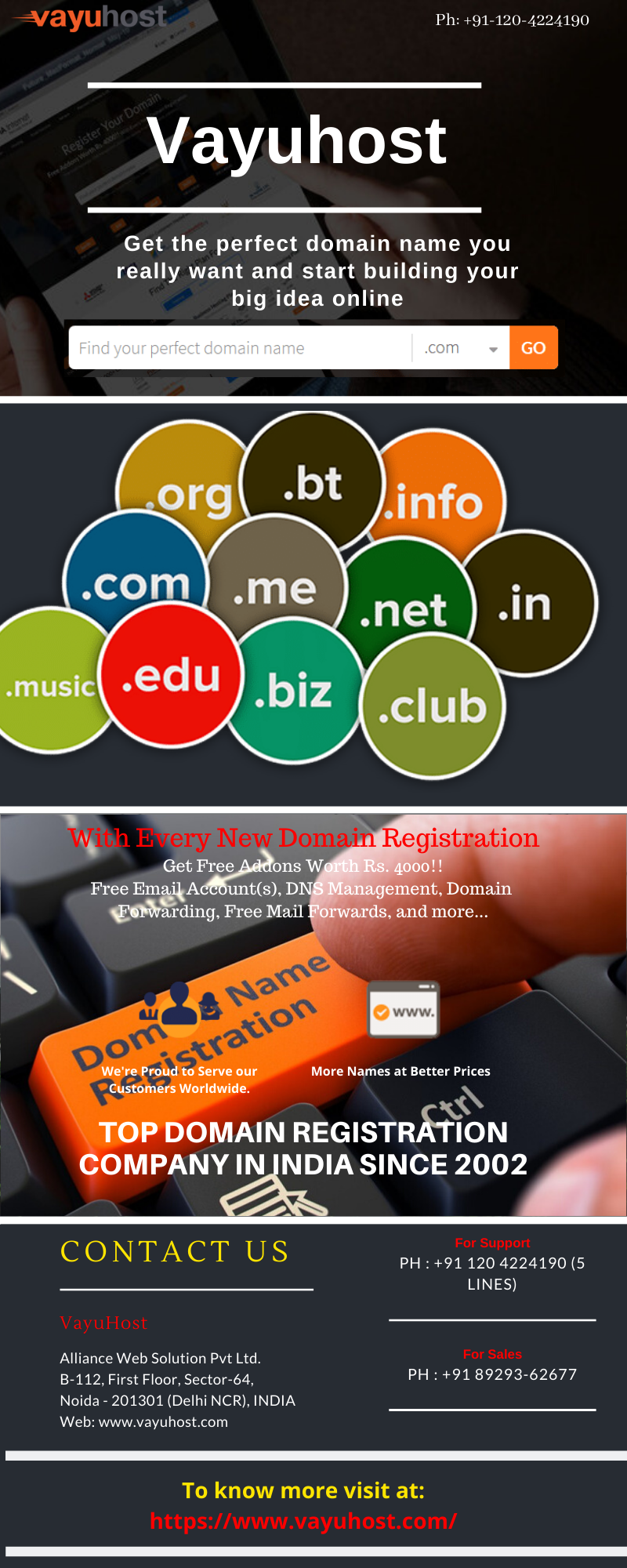 Domain Registration In India Vayuhost In 2020 Domain Registration Hosting Company Free Stuff By Mail