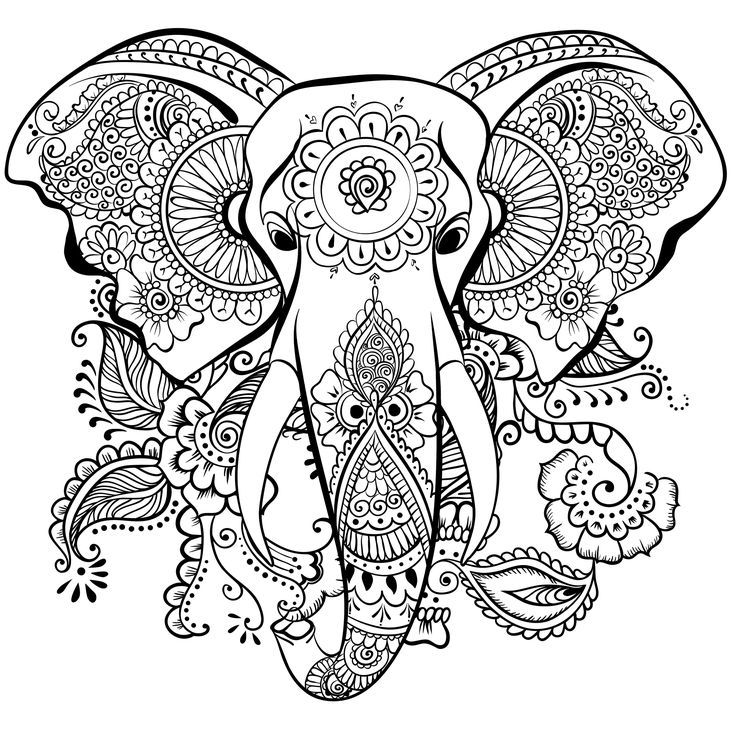 Elephant mandala henna coloring page | Coloring Outside the Lines ...