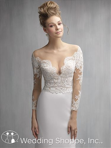 This illusion neckline wedding dress is balanced by a low and ...