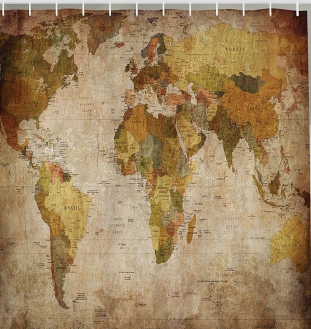 Vintage world map fabric shower curtain antique continents globe vintage world map fabric shower curtain antique continents globe countries decor gumiabroncs Image collections