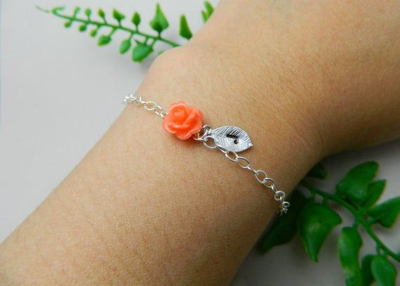 Photo of Coral initial bracelet, personalized flower girl bracelet, dainty jewelry, minimalist jewelry, kids charm bracelet, kids jewelry