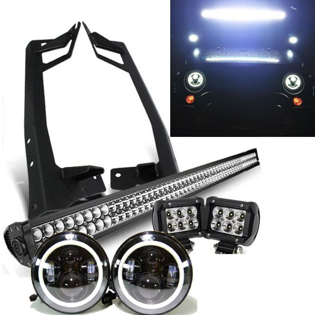 Jeep jk pack 07 2017 52 light bar led projector halo jeep jk pack 07 2017 52 light bar led projector halo headlights 2 pods and all brackets jeep jk jeeps and jeep mods mozeypictures Image collections