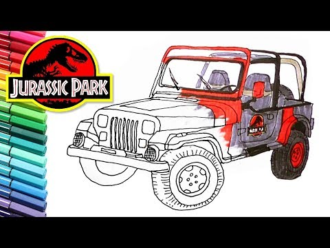 Drawing And Coloring Jurassic Park Jeep Vehicle Color Page For Children Youtube Jurassic Park Jeep Jurassic Park Jurassic