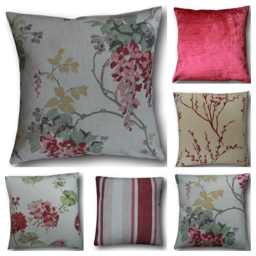 Handmade Laura Ashley Cushion Cover Scatter in Cranberry Red