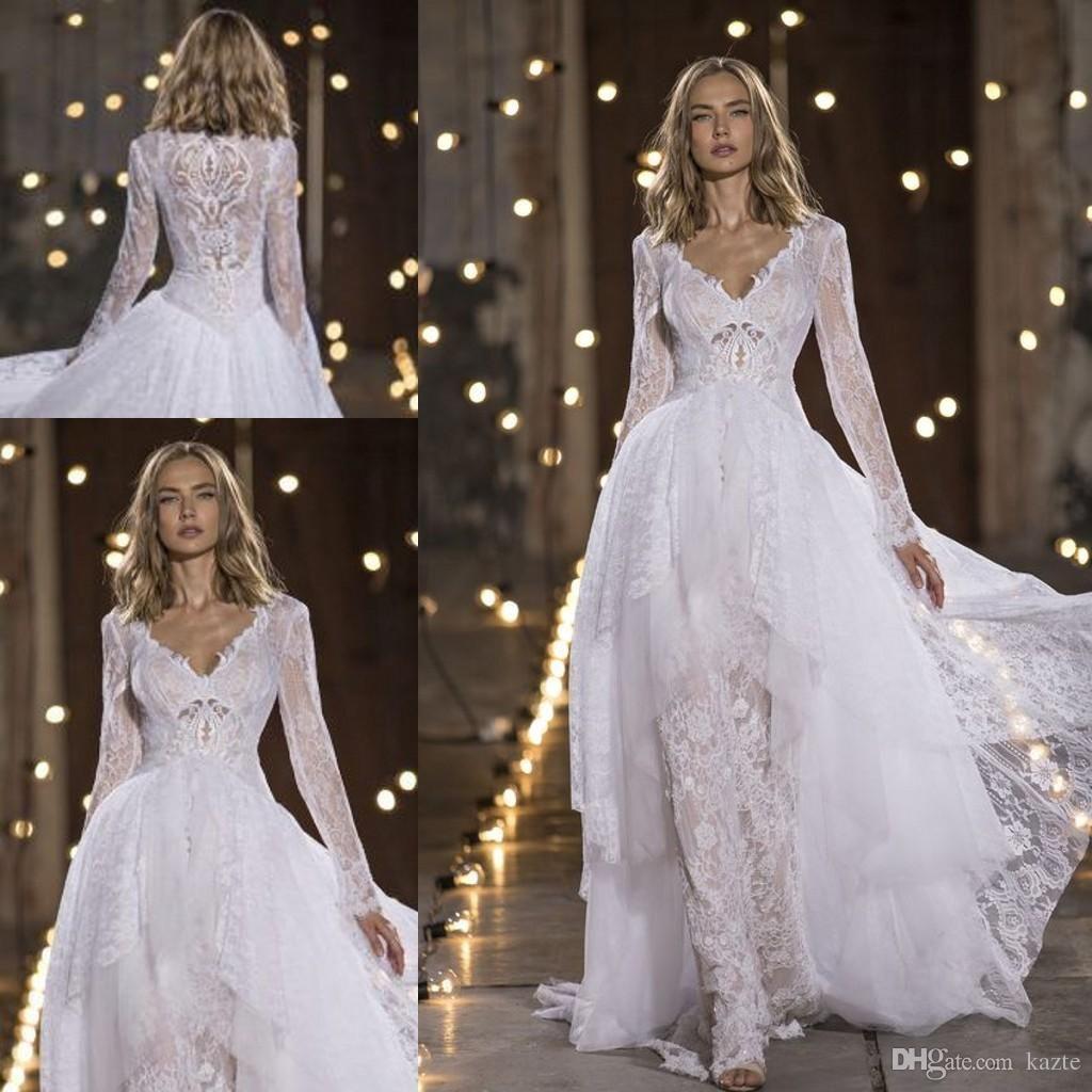 Nurit Hen Long Sleeve Wedding Dresses With Overskirts 2018