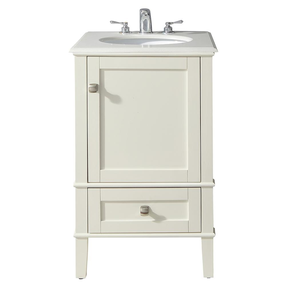 Chelsea 20 Inch Bath Vanity In Soft White With Bombay White