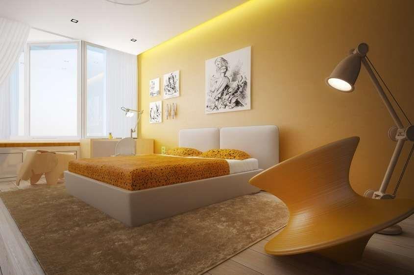 Idee per le pareti della camera da letto - Camera con pareti gialle