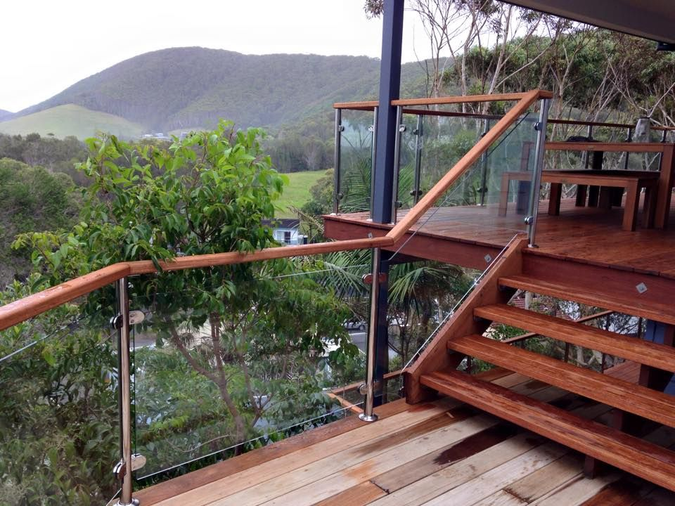 Deck Mount Using Posts with Timber Top Rail DIY Glass