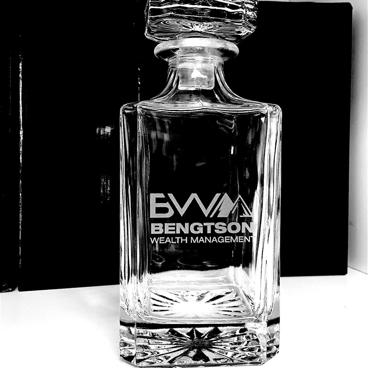 Business logo engraved glass whiskey decanter the perfect