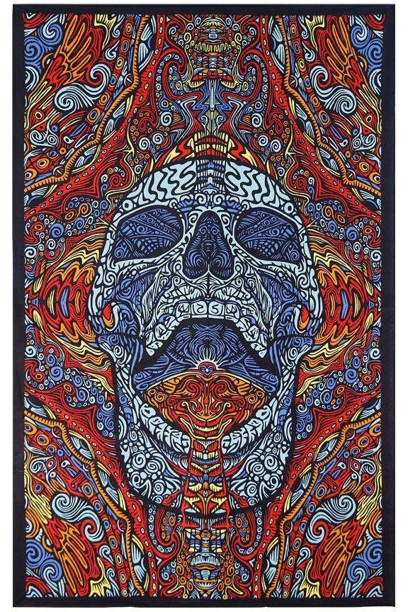 3d Mindful Skull Tapesty Skull Love Psychedelic