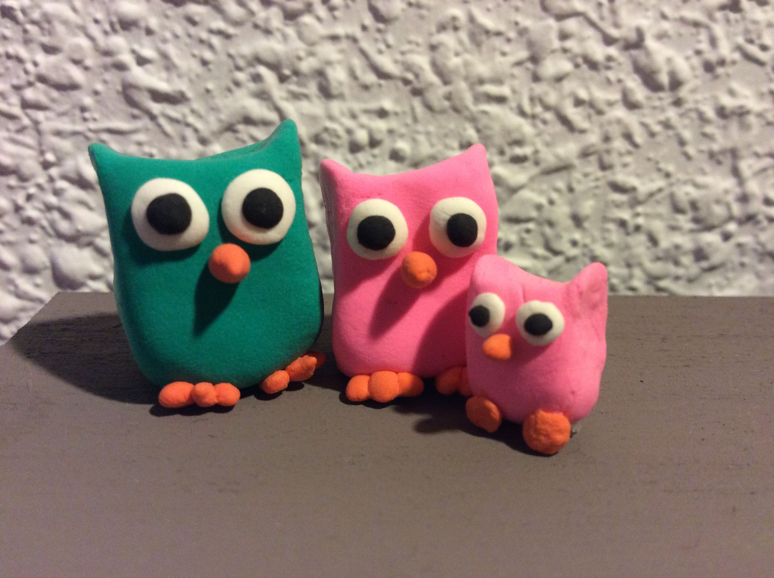 Family of three cute owl made out of jumping clay!