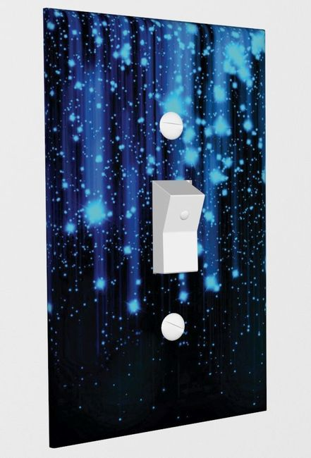 Falling Blue Stars Decorative Wall Plate Light Switch Cover Vinyl