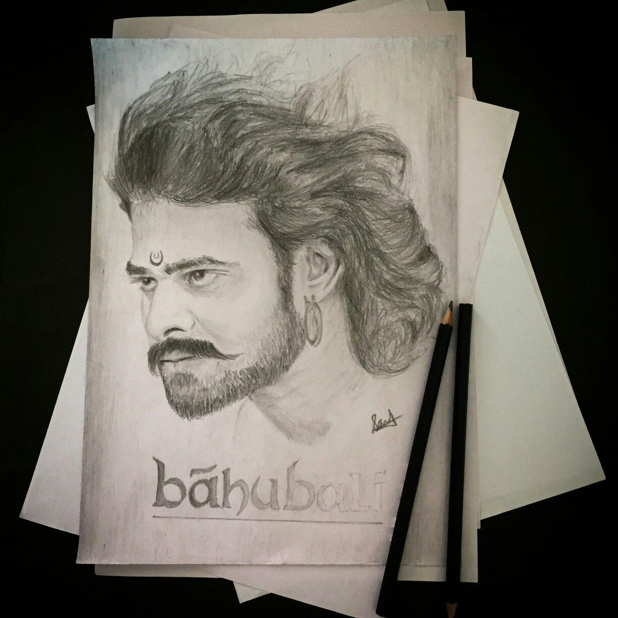 how to draw bahubali face