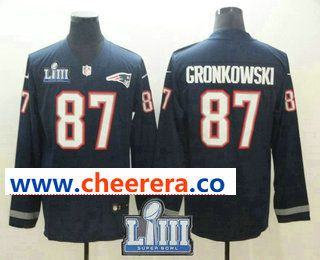 c4473a3b8 Men s New England Patriots  87 Rob Gronkowski Nike Navy 2019 Super Bowl  LIII Patch Therma Long Sleeve Limited Jersey