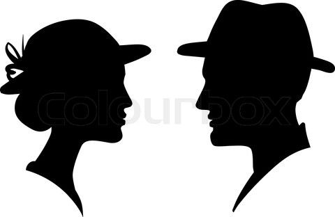 Stock Vector Of Man And Woman Face Profile Silhouette Vector Male Female Couple Man And Woman Silhouette Silhouette Face Face Profile