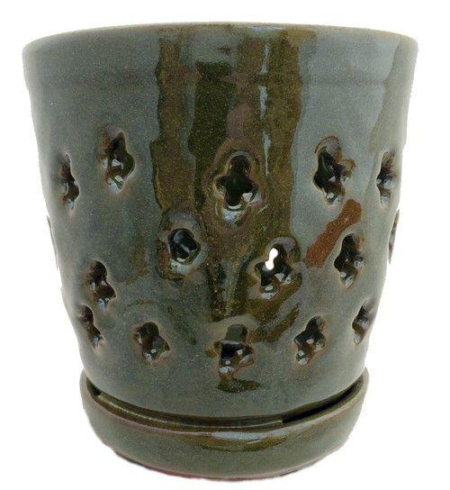 """Round Ceramic Orchid Pot/Saucer + Felt Feet - 5 1/8"""""""" x 5 1/4"""""""" - Green - #37055"""