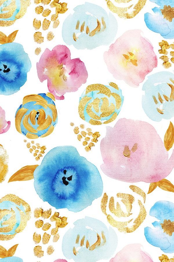 Florals In Shades Of Blue And Pink With Gold Accents On Fabric Wallpaper Gift Wrap Abstract Floral Pattern Perfect Or Home Decor Wedding