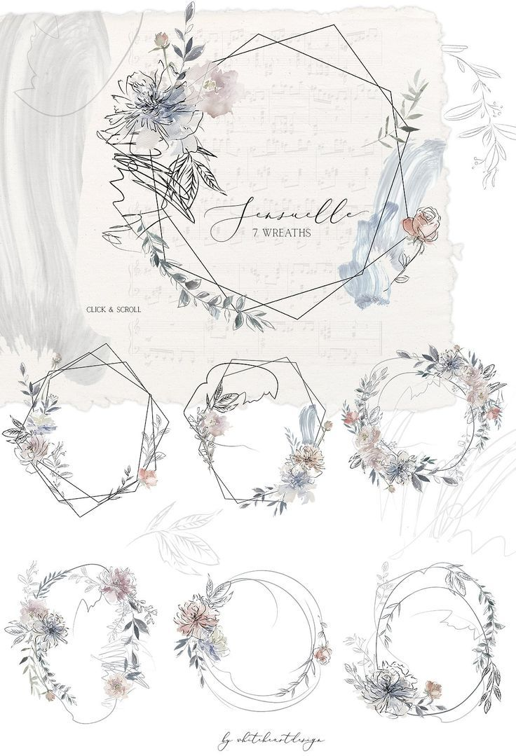 Sinnliche Aquarell Blumen Clipart Geometrische Blumen Dateien Kränze Floral Wreath Watercolor Blue Watercolor Floral Geometric Flower