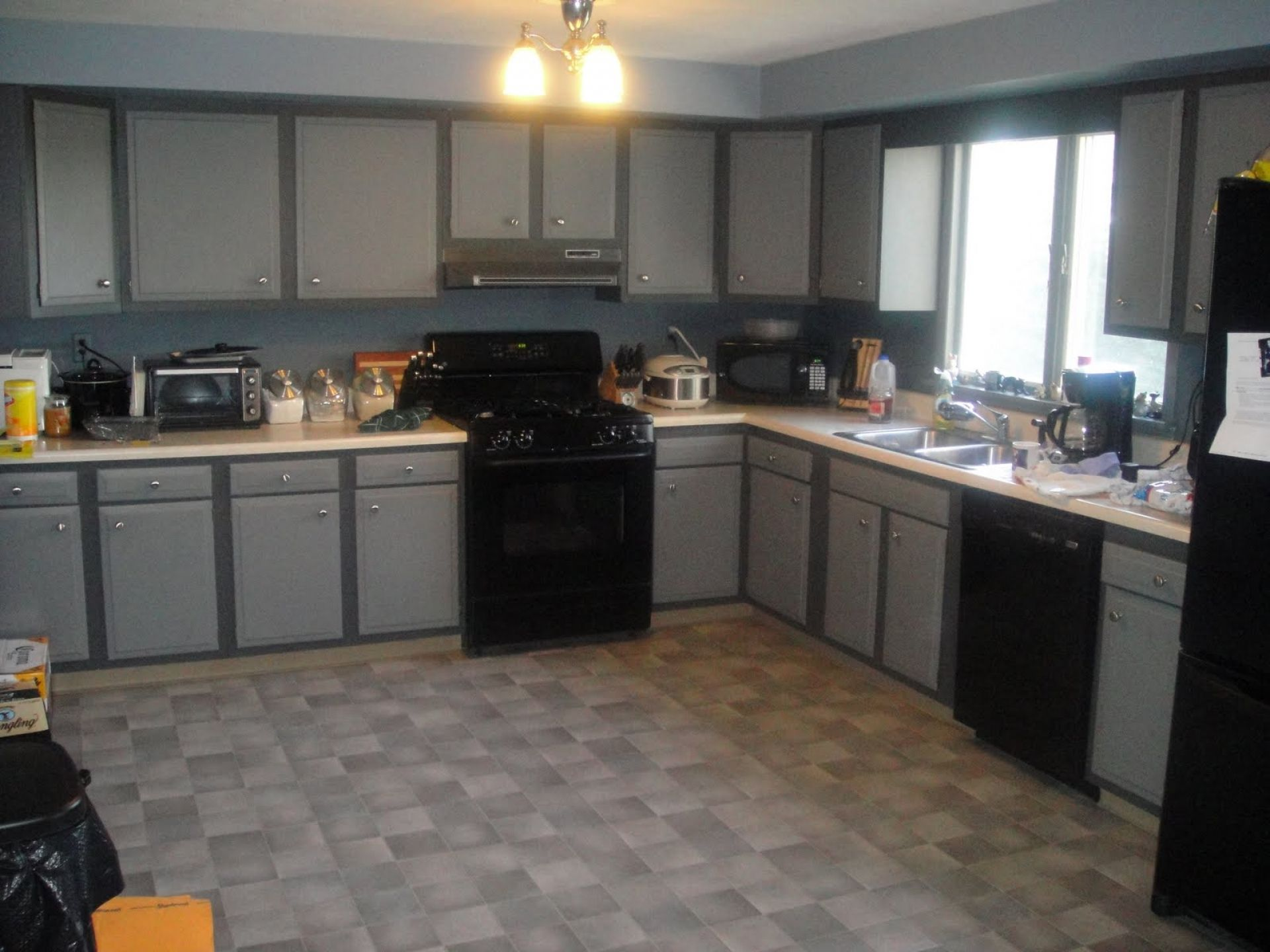 Grey Kitchen With Black Appliances we have