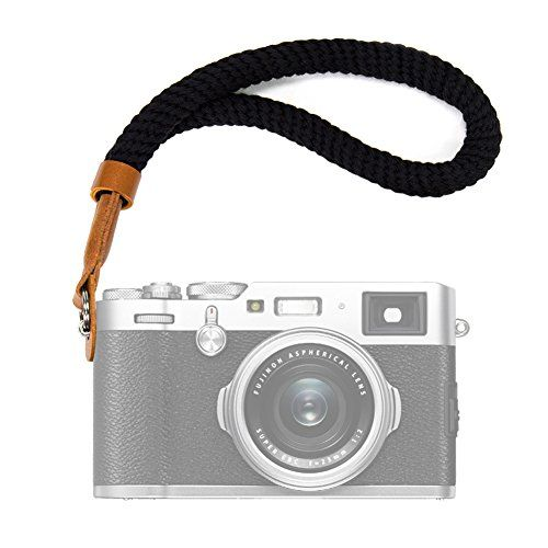 VKO Black Cotton Camera Hand Wrist Strap Compatible for Fujifilm X-T30 X-T3 X-T20 X-T2 X70 X-Pro2 X-E3 X30 XQ2 X100F X100T A6400 A6000 A6300 A6500 A5100 RXIR II RX10 Cameras Adjustable Safety Strap
