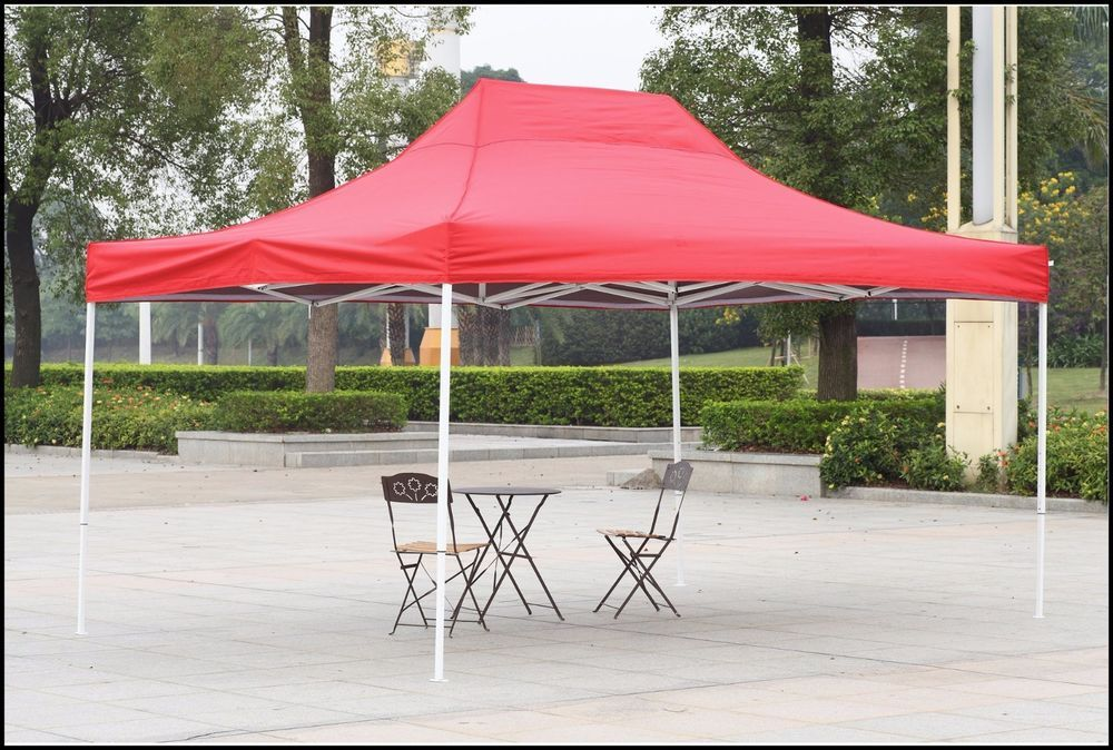 Outdoor Canopy Shelter Gazebo 10x15 Red Patio Backyard Shade Steel