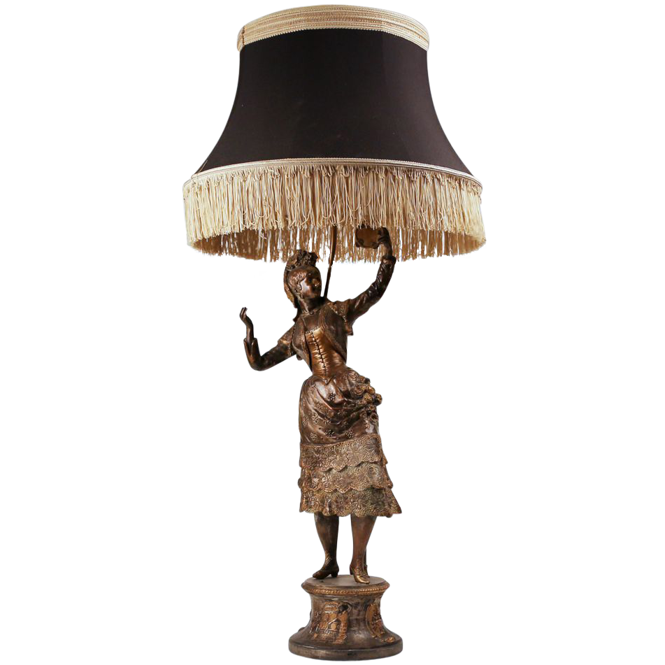 ebanista lighting. Th C French Bronze Patinated Spelter Gypsy Dancer Fitted As Lamp With Ebanista Lighting. Lighting Y
