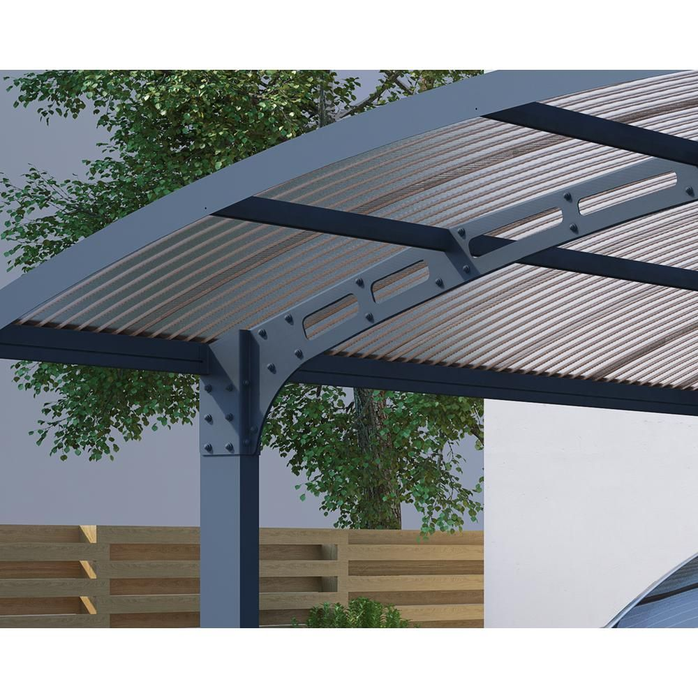 Palram Arizona 5000 Wave 9 Ft 6 In X 16 Ft 3 In X 9 Ft H Carport With Detachable Winter Support Kit 705060 The Home Depot In 2020 Pergola Patio Pergola Double Carport