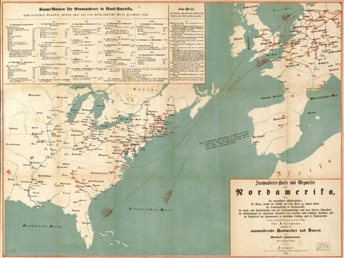 Historic Map of the United States Emigration from Europe to