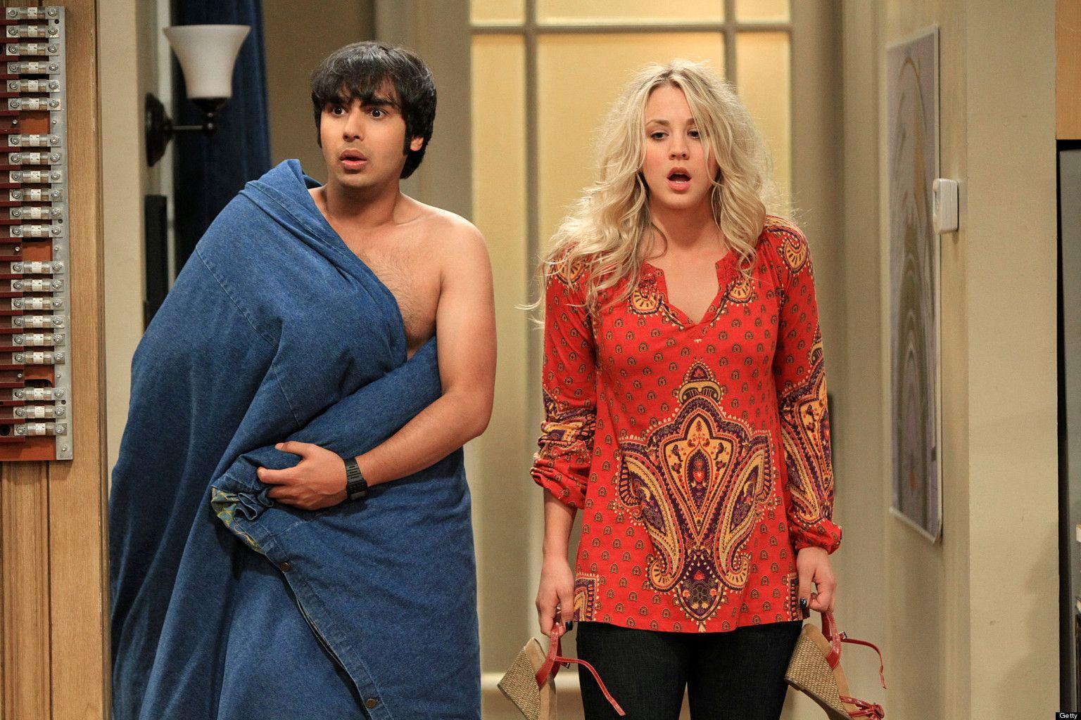 Kaley Cuoco-Sweeting as Penny and Kunal Nayyar as Raj Koothrappali.