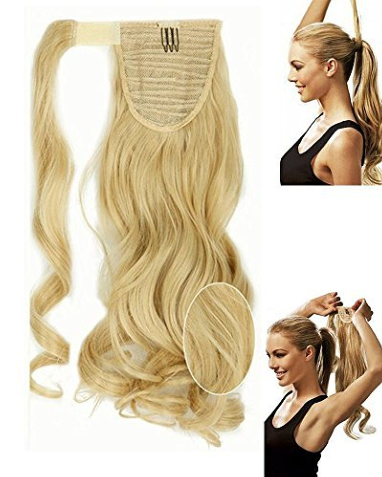 S Noilite 17 Inches Curly Baby Blonde Mix Bleach Blonde Wrap Around
