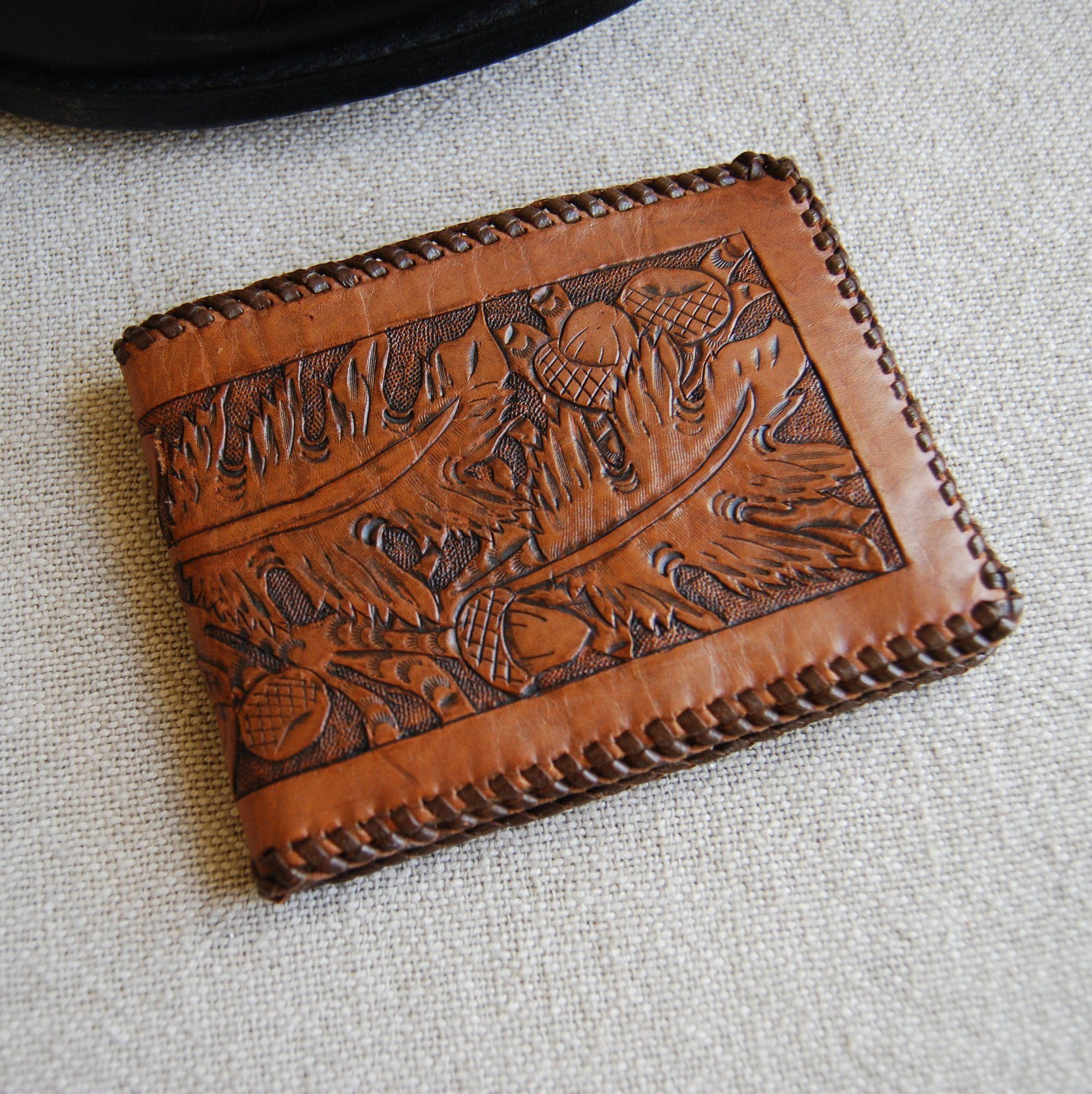 Vintage 1980/'s Western Wear Tooled MONTANA Leather Belt 40 Snap Button Brown Leaves Floral Vaquero