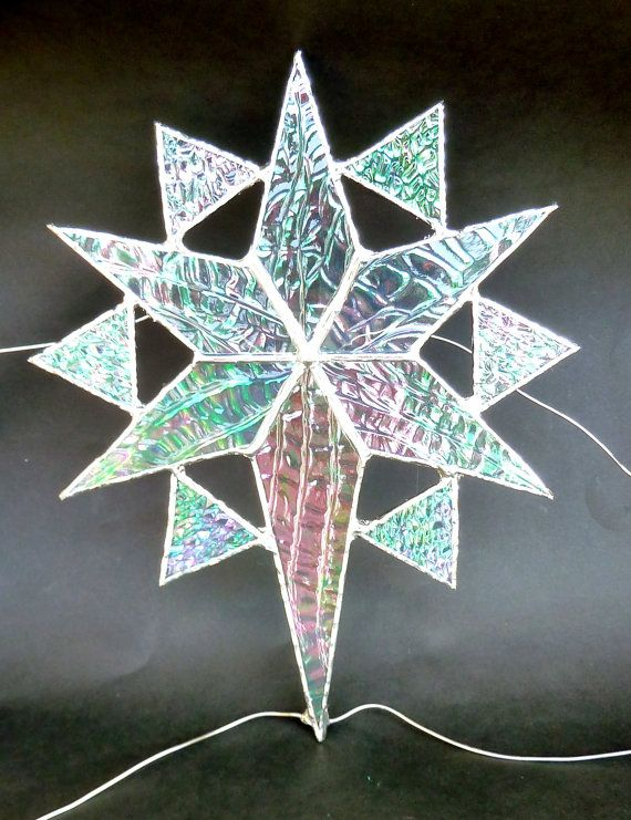 Stained Glass Star Christmas Tree Topper 1 by bitsandglassart, $30.00 - Stained Glass Star Christmas Tree Topper (1) Stained Glass Seasons