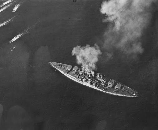 """ USS Tennessee (BB-43) targeting Japanese fortifications on Okinawa in support of the invasion"