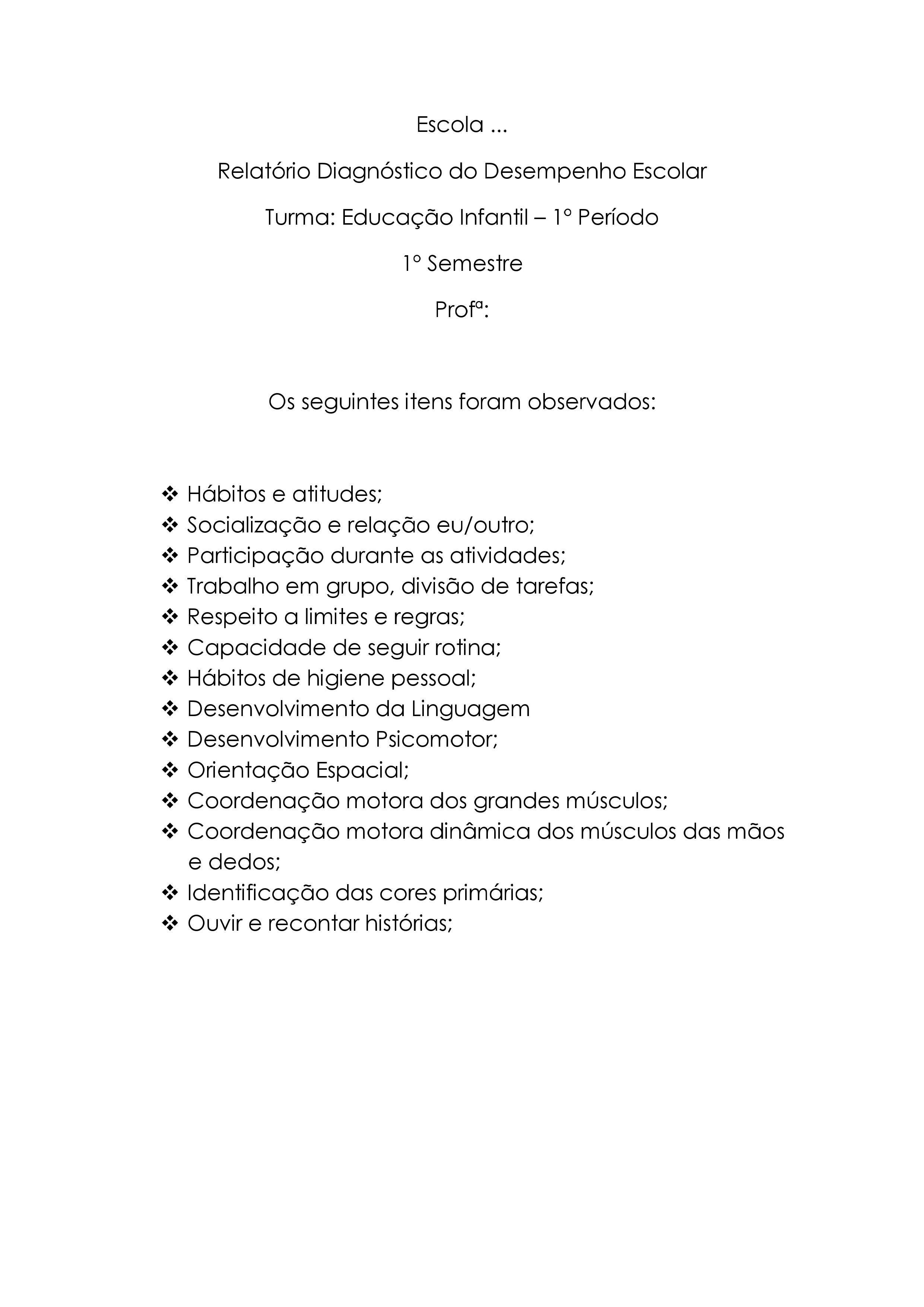 Modelo De Relatorio De Avaliacao Do Desempenho Escolar Em 2020
