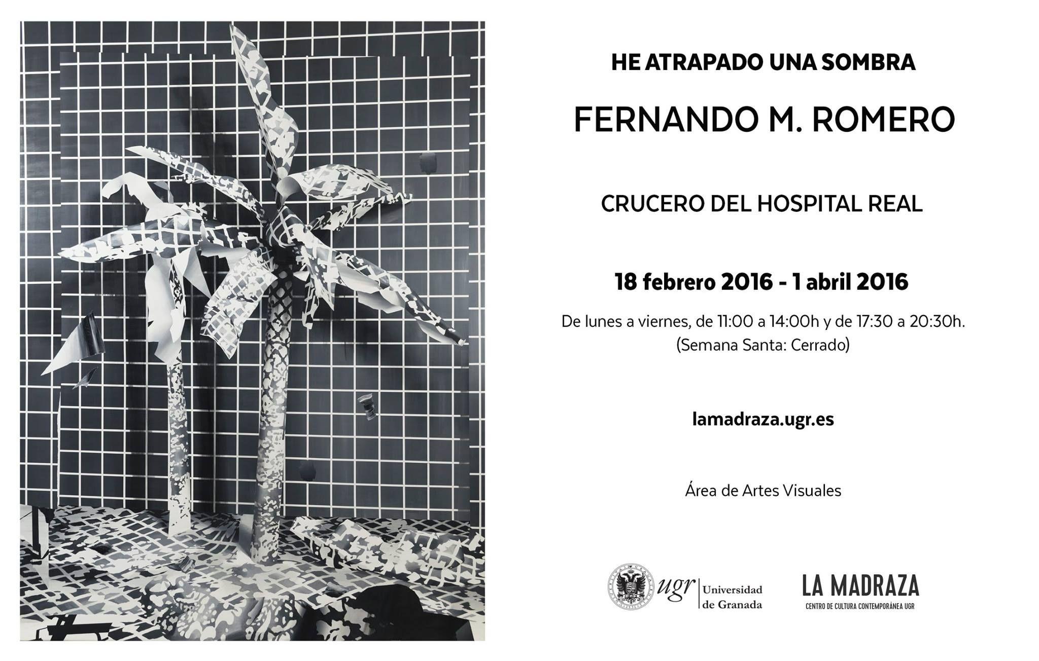 La exposición que Fernando M. Romero presenta en el Crucero del Hospital Real muestra un recorrido por las principales estrategias de las que se ha servido en los últimos años para indagar en este tema recurrente en su producción. Su obra parte de una concepción de la pintura como un sistema híbrido en el que ésta abandona el lienzo para invadir el propio espacio expositivo y dialogar a su vez con la fotografía en un camino de ida y vuelta. Más => bit.ly/1SxMnp1 ; #heatrapadounasombra