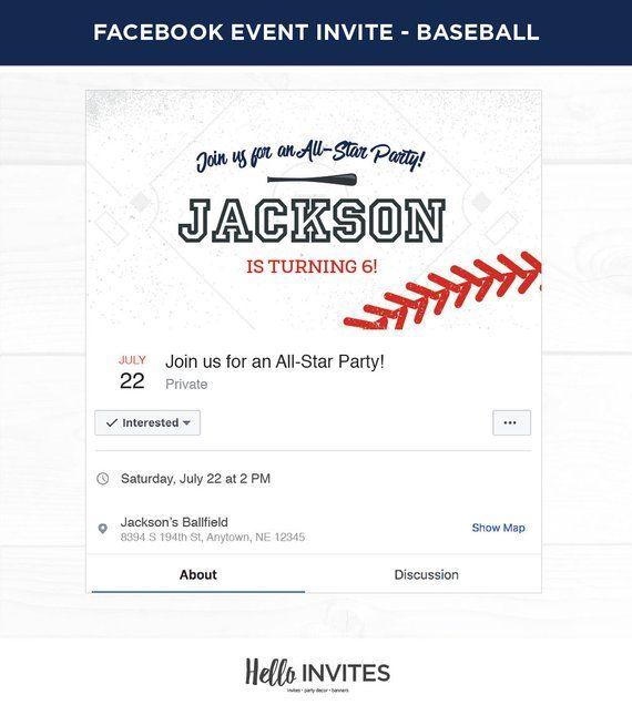 Baseball Birthday Facebook Event Invitation Red Blue Boy Invite Bat Field D
