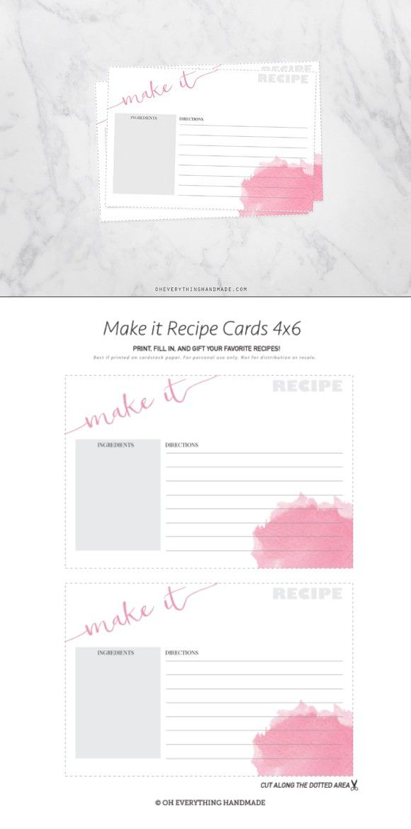 Watercolor Recipe Cards 4x6   Card templates, Template and Fonts