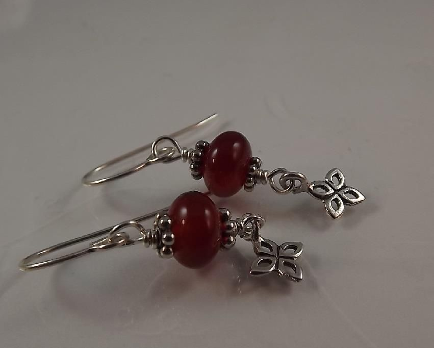 Carnelian, Bali Silver, Sterling Flower Earrings Sundance Inspirations ~ em #SundanceInspirationsbyevasmim #DropDangle