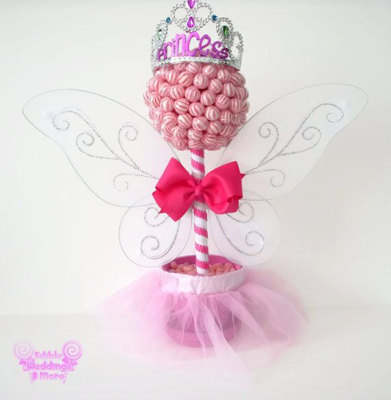 Pink lollipop fairy princess topiary centerpiece