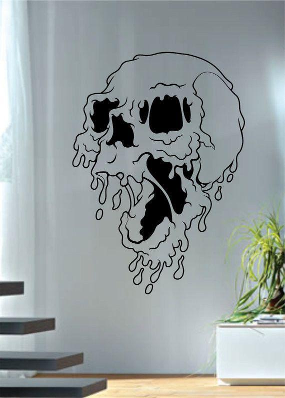 Melting Skull Art Decal Sticker Wall Vinyl - teal
