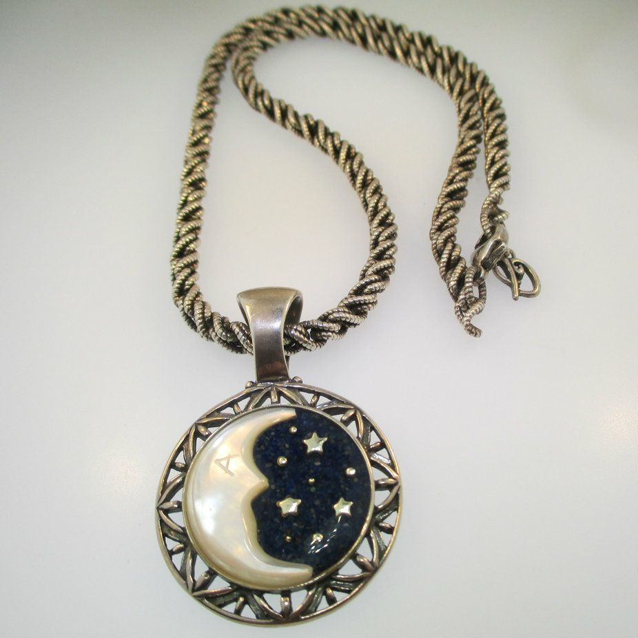"""American Antiques and Jewelry - Sterling Silver Carolyn Pollack Relios Mother of Pearl Moon and Lapis Star Pendant with 18"""" Wheat Chain, $320.00 (http://www.aaandj.com/sterling-silver-carolyn-pollack-relios-mother-of-pearl-moon-and-lapis-star-pendant-with-18-wheat-chain/)"""