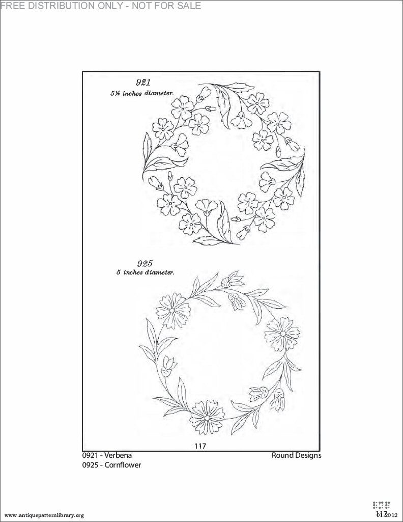 Floral Wreath Embroidery Pattern Free
