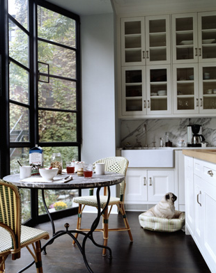 window breakfast nook--and a pug!