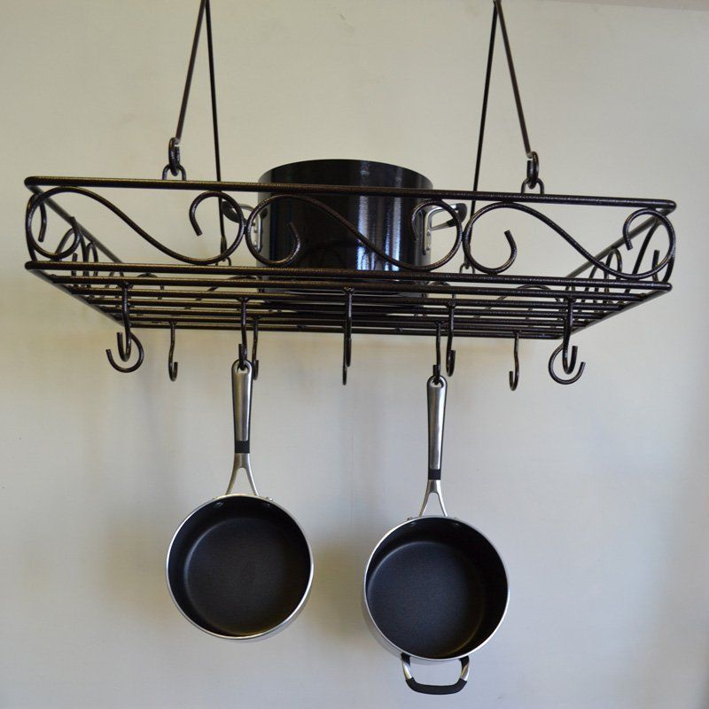 Iron J Wire Scrolled Wrought Pot Rack