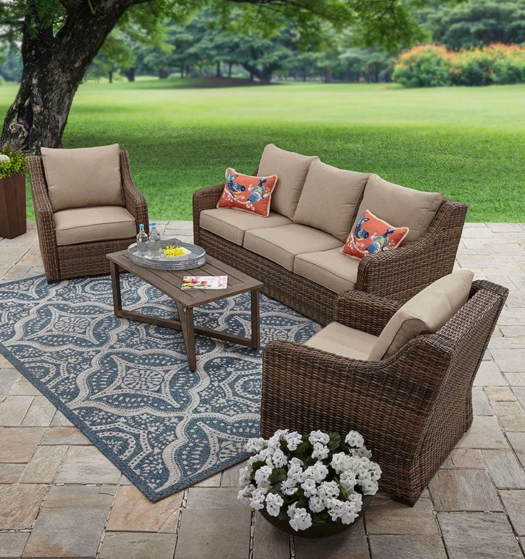 Hawthorne Park 4-Piece Conversation Set Screened In Porch, Better Homes And  Gardens, - Better Homes And Gardens Hawthorne Park 4-Piece Sofa Conversation