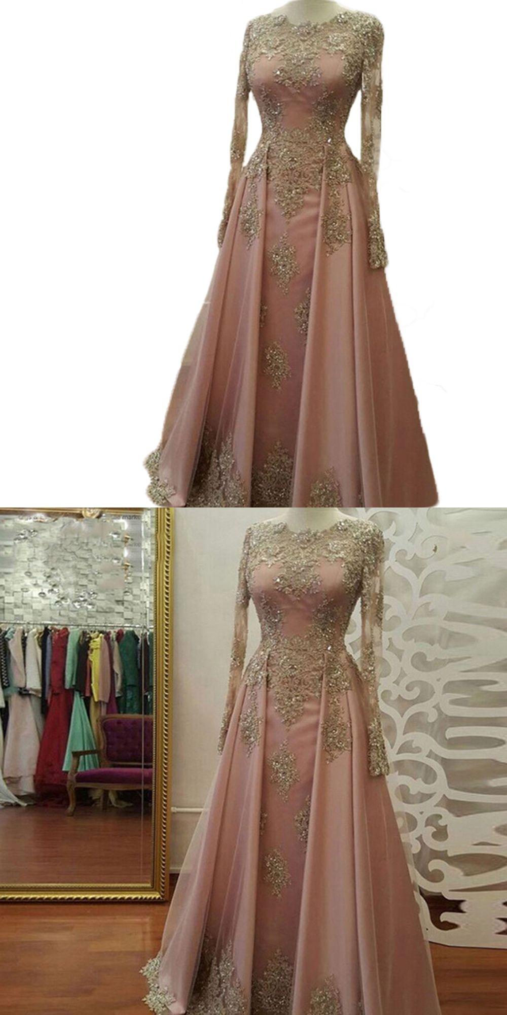 Elegant long prom dresses pink gold lace vestido de formatura muslim