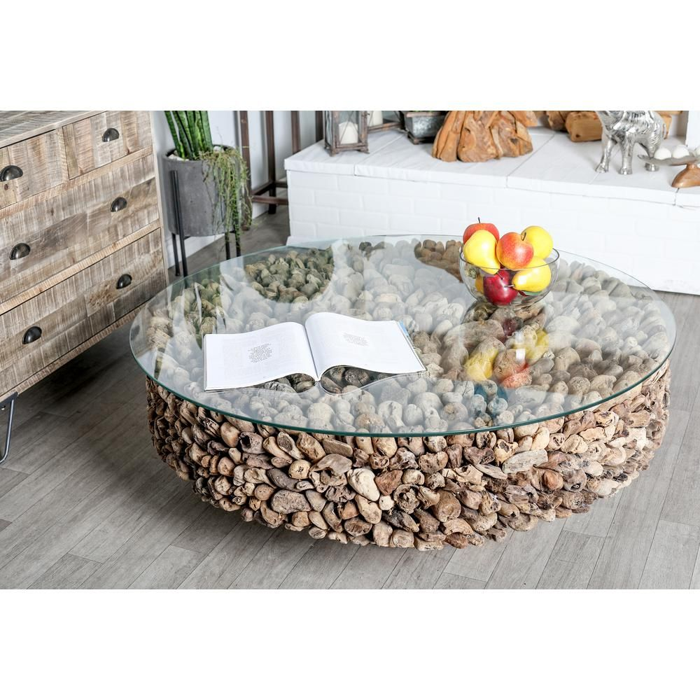 Litton Lane 48 In Brown Large Round Glass Coffee Table 64032 The Home Depot Driftwood Coffee Table Glass Coffee Table Rectangle Glass Coffee Table [ 1000 x 1000 Pixel ]