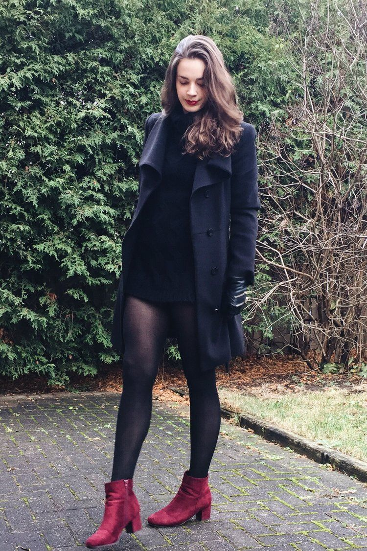 All Black Winter Outfit And Burgundy Boots Wwwaliciakhudsoncom